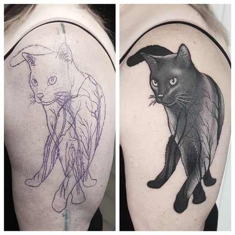 halloween black cat tattoo