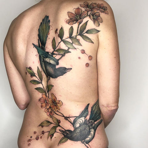 flower and bird  back tattoo