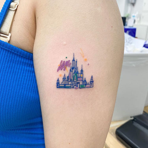 fine line castle tattoo