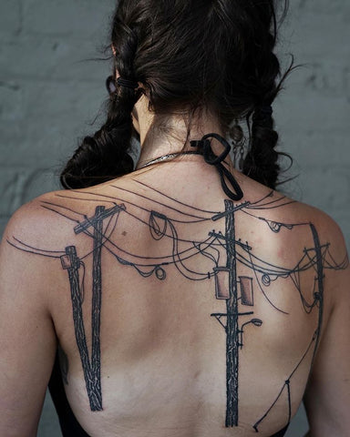 line wire back tattoo