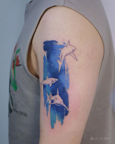 dolphin wattercolor tattoo
