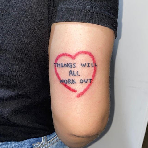 heart frame word tattoo