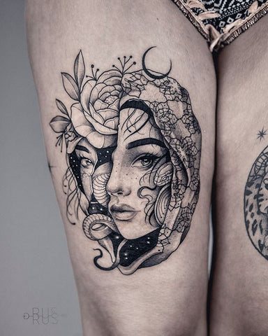 woman portrait thigh tattoo