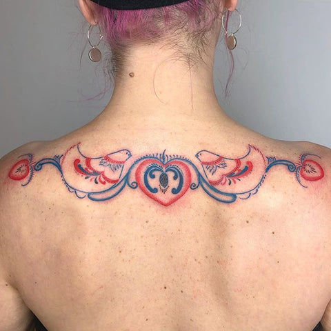 animal floral back tattoo