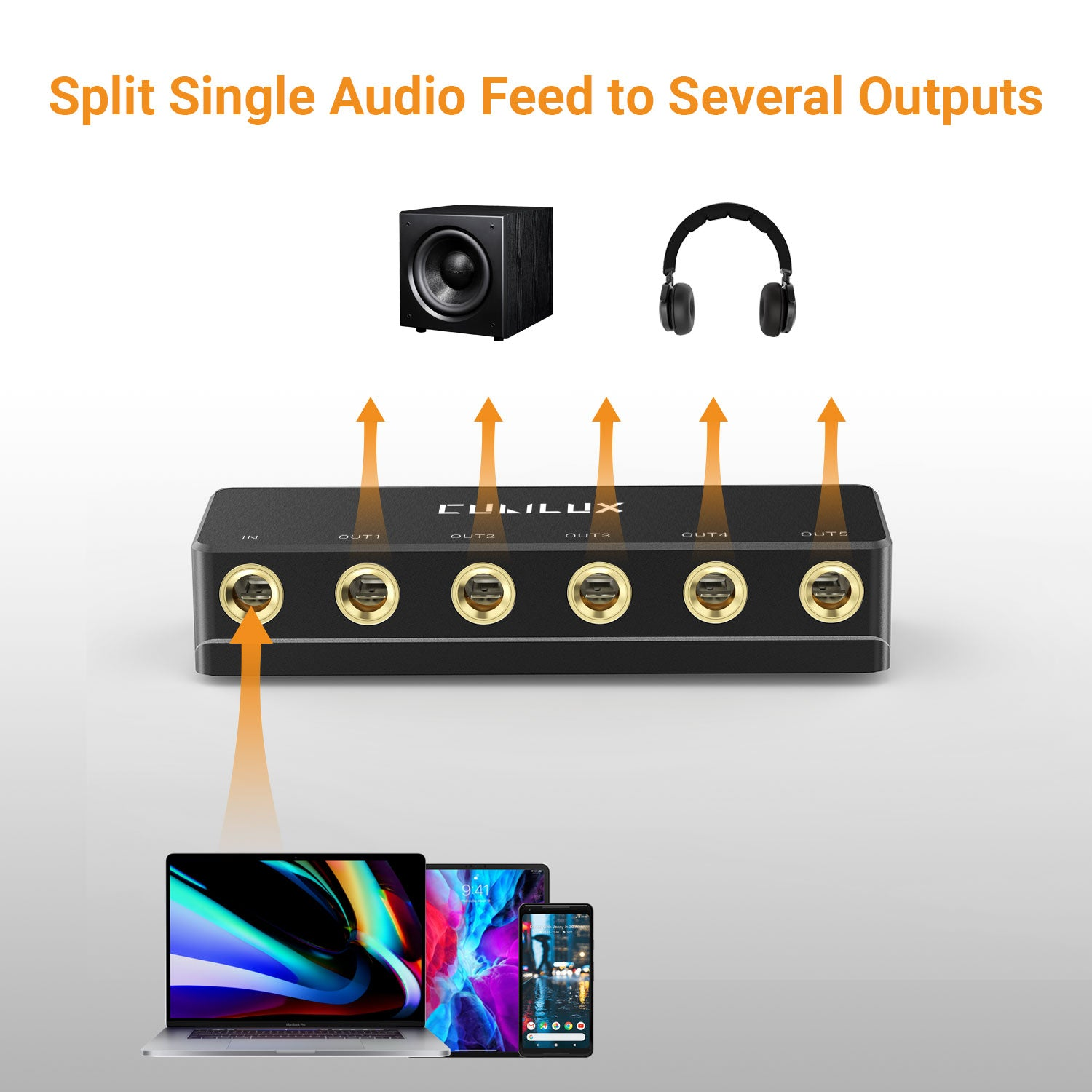 Splitting Audio Feed to up to Five Ways Output