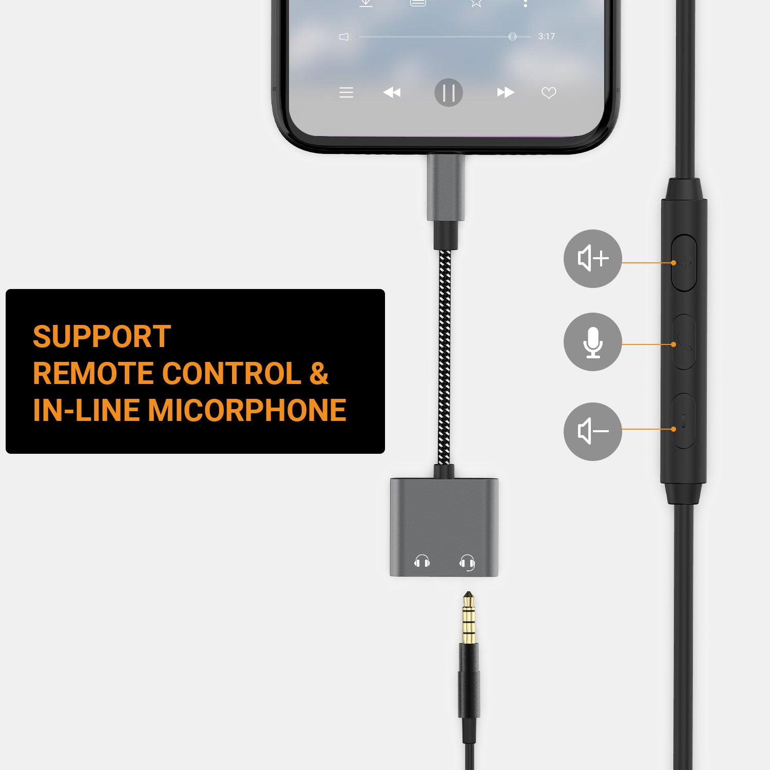 Support Remote Control & 4-Pole TRRS Microphone