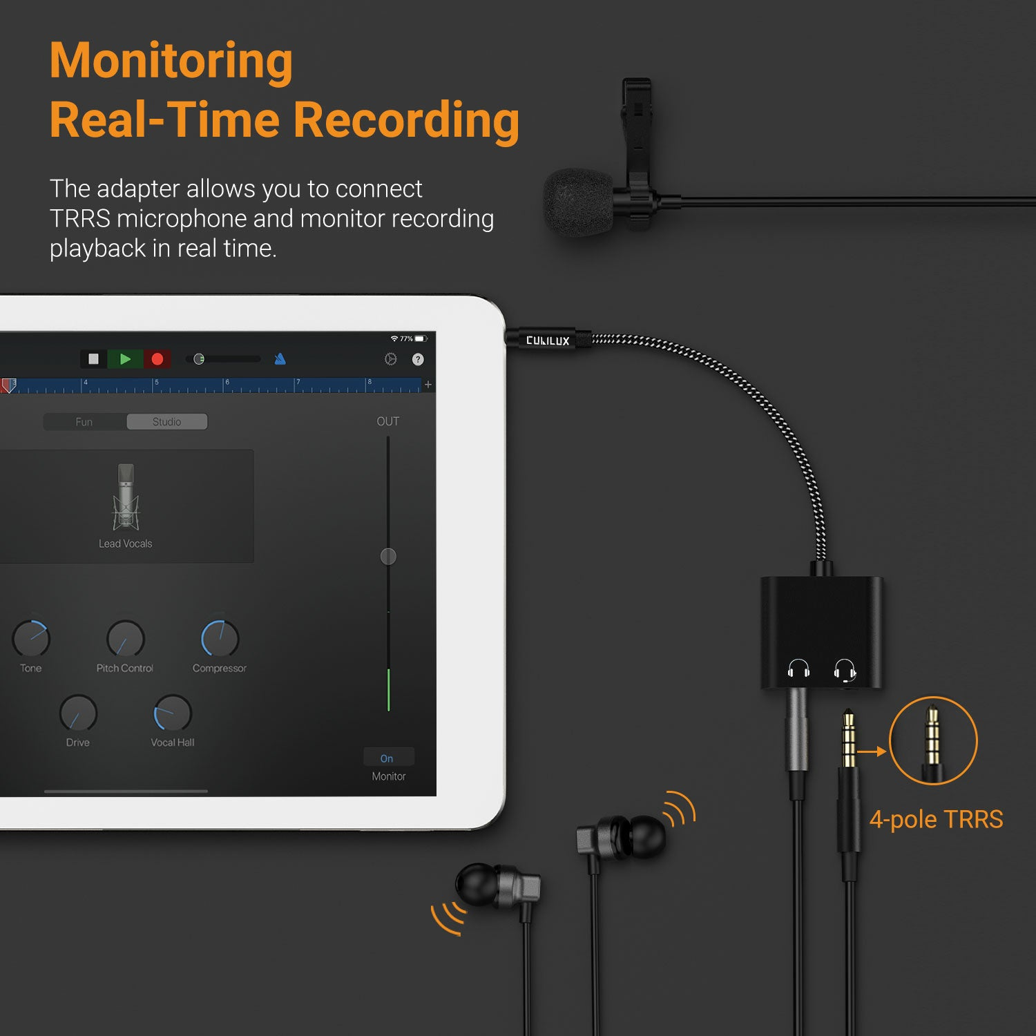 Support 4-Pole TRRS Microphone