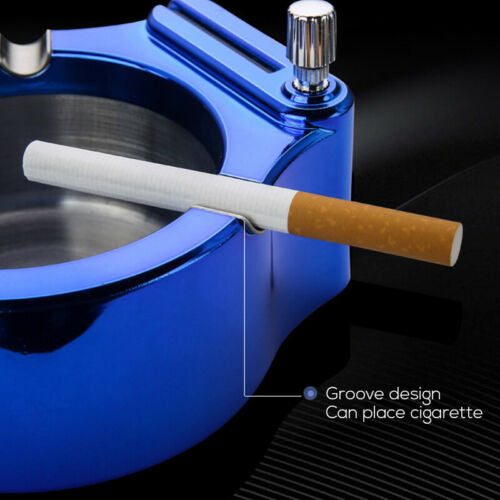 Not Included Kerosene Ten Thousand Match Lighter Multifunction Ashtray 2 In 1 Ashtray Gift for Smokers Color : Blue PHLPS Retro Metal Ashtray Ten Thousand Match Lighter
