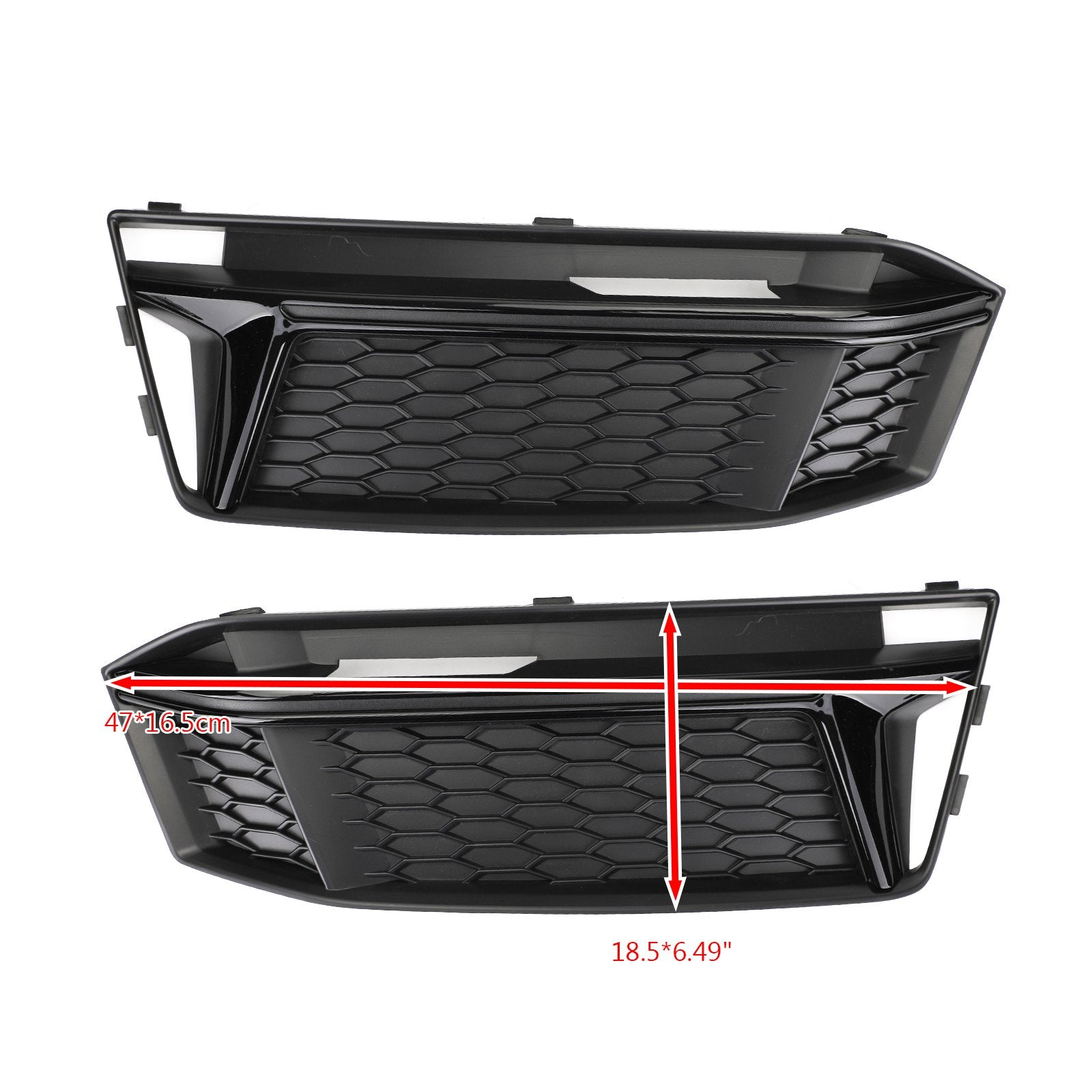 Pair Fog Light Cover Hole Grille Grill Bezel For AUDI S4 S-Line B9 2016-2018 Generic