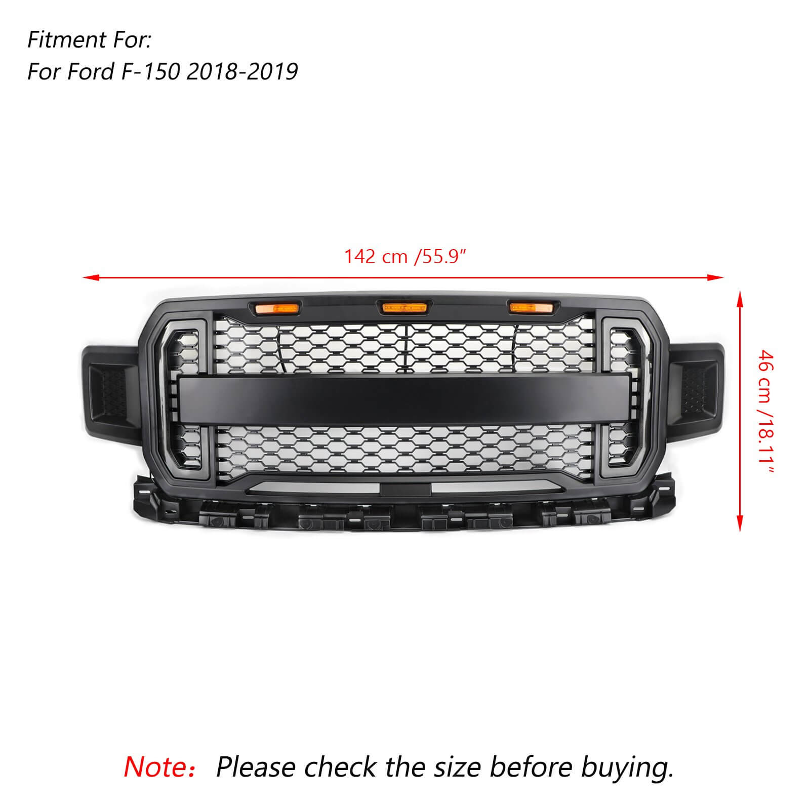 Front Grill Grille With Amber Lights DRL For 2018 2019 2020 Ford F150 F-150 Generic