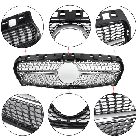 Diamond Star Grille Front Grill With Logo Fit 2013-2016 Mercedes Benz R117 W117 CLA250 Generic