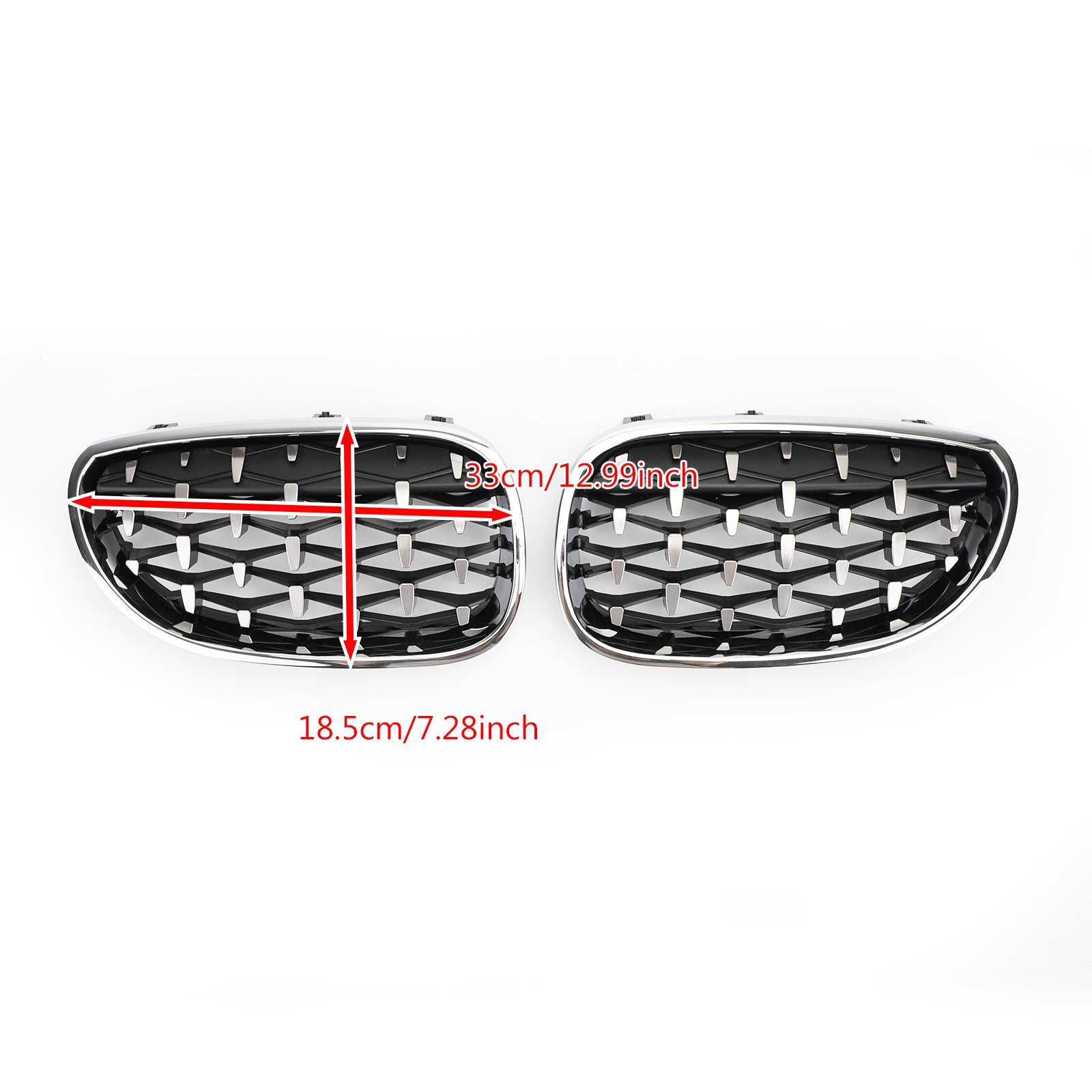 Pair Chrome Diamond Style Front Grill Fit For 2003-2010 BMW E60 E61 5 Series Generic