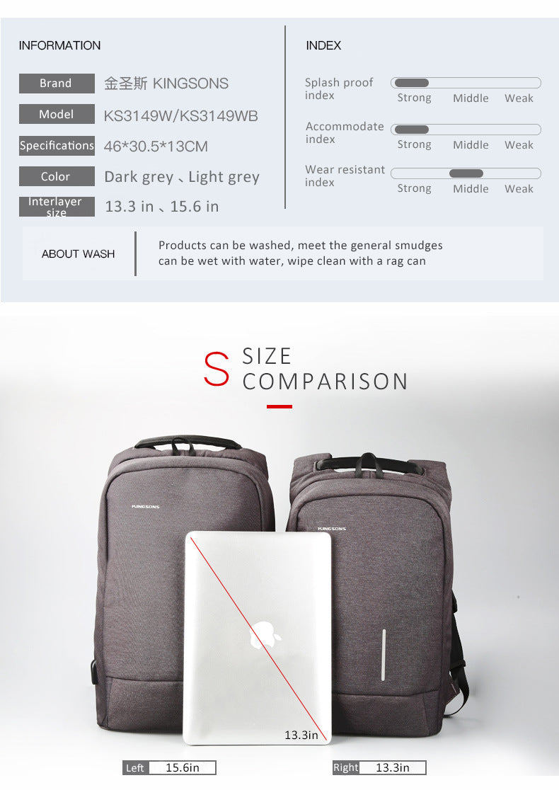 The kingsons anti-theft backpack has strong abrasion resistance, which can effectively protect the items in the backpack from sharp foreign objects. The colors are dark gray and light gray. The size is 15.6 inches from the left and 13.3 inches from the right. The product can be washed with water to adapt to general stains. Regarding cleaning, it can be moistened with water, wiped with a cloth and waterproof, so as to protect the files in the bag