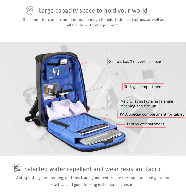 The large-capacity space can accommodate a 15.6-inch laptop, glasses bag/convenience bag, dedicated tablet compartment, and laptop compartment. The standard configuration of the selected waterproof and wear-resistant fabric is splash-proof, tear-proof, shock-proof, and good in texture. Kingsons anti-theft backpack is practical and beautiful, easy to go out