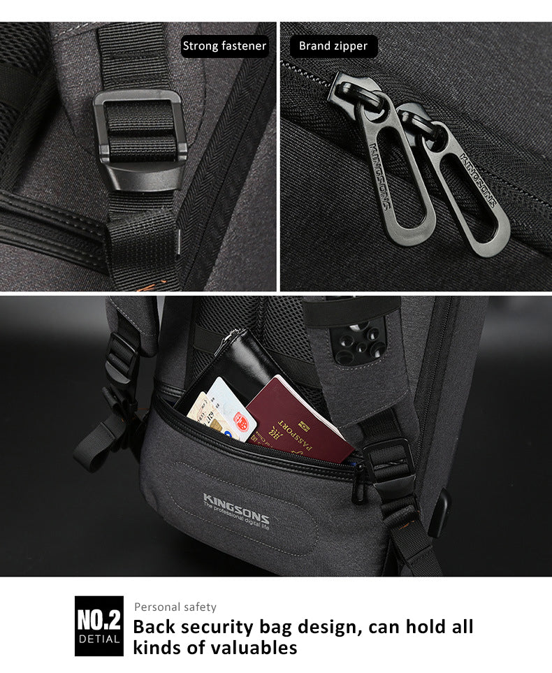 Branded zipper back security bag design, can hold all kinds of valuables kingsons anti-theft backpack