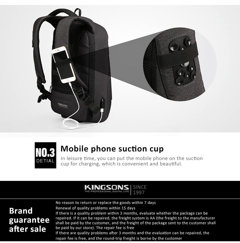 Kingsons anti-theft backpack mobile phone suction cup When you are free, you can put your phone on the suction cup, which is convenient and beautiful. Go out easily