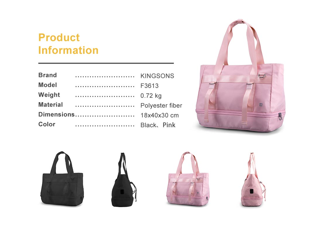 KINGSONS women's yoga sports bag, black style and pink style, size details