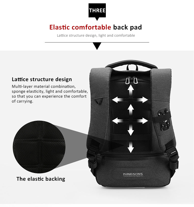 Elastic backing design, elastic and comfortable cushion, lattice structure, light and comfortable, multi-layer material combination, sponge elasticity, light and comfortable, allowing you to experience comfort. kingsons anti-theft backpack