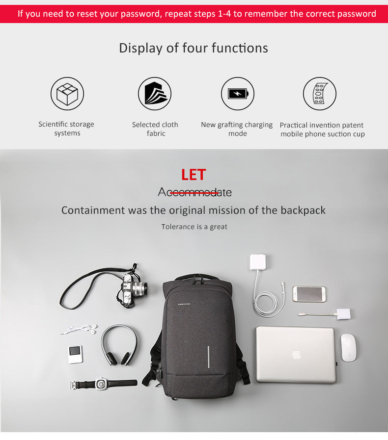 Kingsons anti-theft backpack uses fabrics, a new grafting charging method, and a practical invention patented mobile phone suction cup. There is a 15.6-inch storage space inside, which can store a lot of daily necessities and office supplies for easy going out