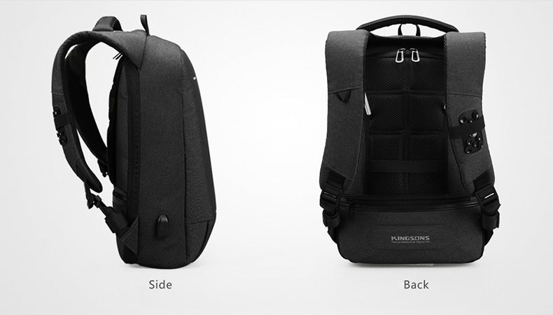 Kingsons 15.6-inch high-quality anti-theft backpack, side and back perspective view is dark gray