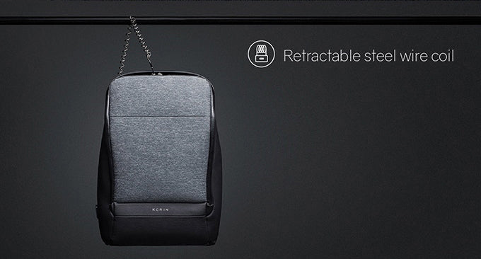 KORIN Design FlexPack Pro The retractable steel wire coil has excellent safety performance and can bear the weight of the backpack - kingsons.com