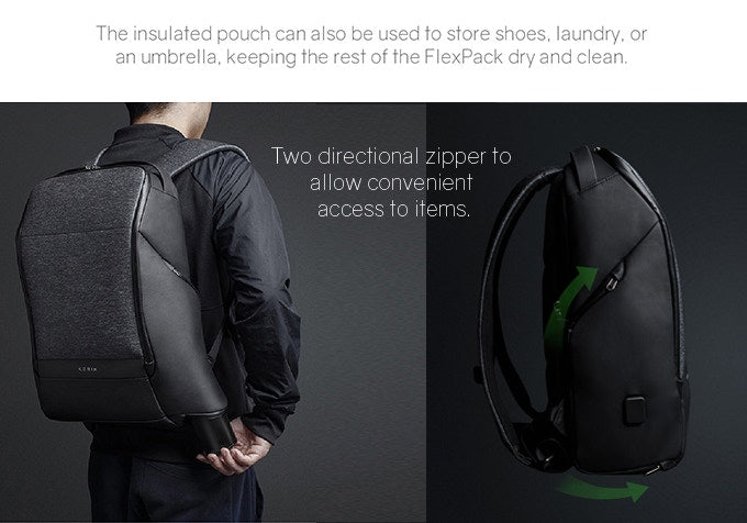 Two directional zippers to, The insulated pouch can also be used to store shoes, laundry, or an umbrella, keeping the rest of the FlexPack dry and clean. KORIN Design FlexPack Pro - kingsons backpack