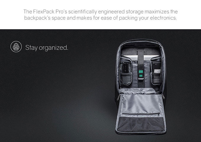 FlexPack Pro's scientific design storage can be maximized The space of the backpack is convenient for packaging electronic products. - kingsons.com