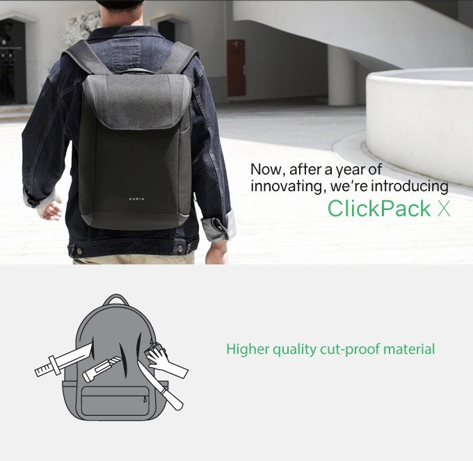 Korin ClickPack X-simple and practical anti-theft backpack higher quality cut-proof material - kingsons.com