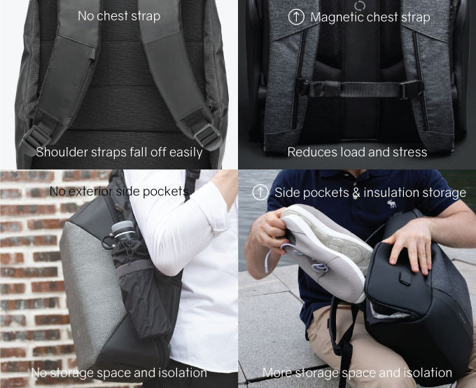 KORIN Design FlexPack Pro  The magnetic chest strap reduces the burden and pressure, and the side pockets are insulated storage space - kingsons.com