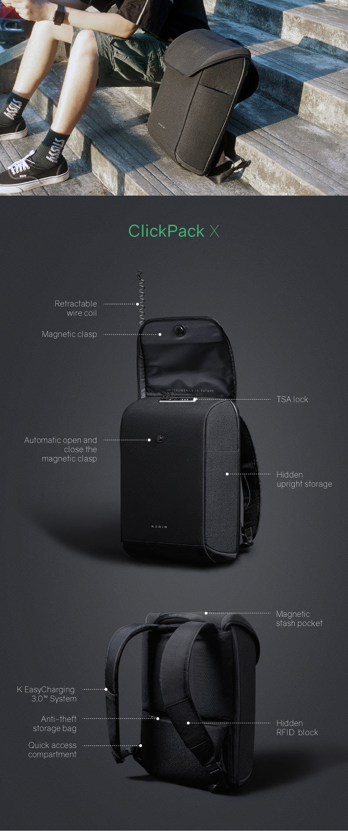 ClickPack X retractable coil magnetic buckle-automatically open and close the magnetic buckle hidden upright storage magnetic storage bag KEAsyCharging 3.O System anti-theft-hidden storage bag RFID block quick access-kingsons.com
