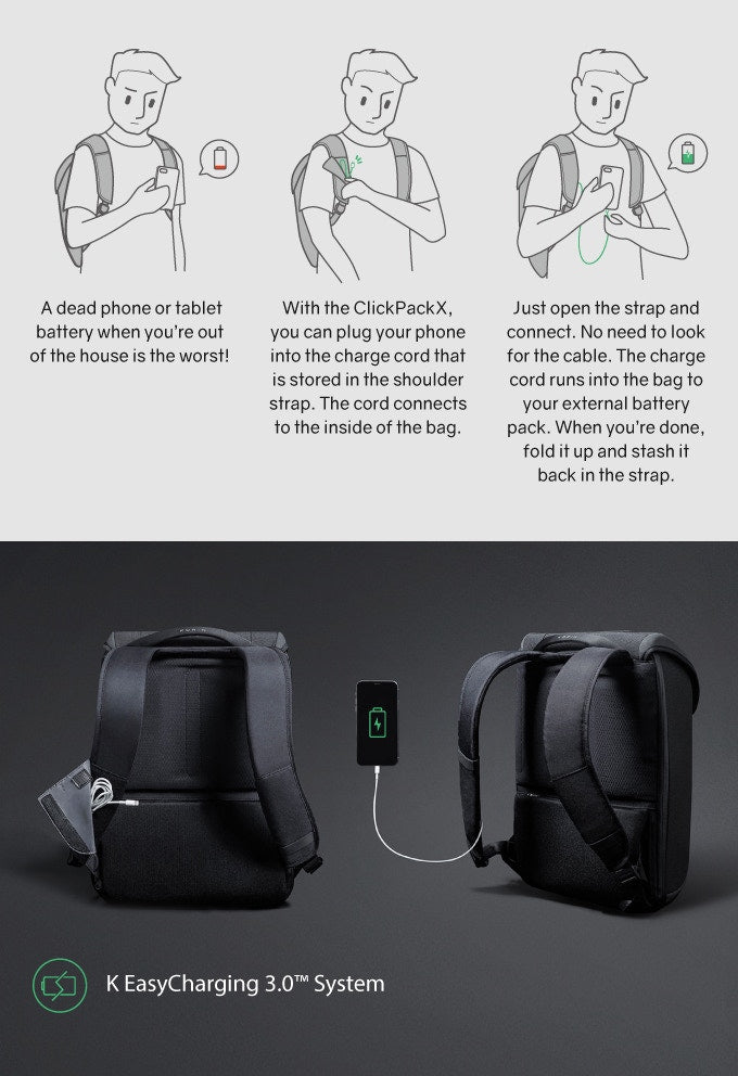 Commercial anti-theft backpack multi-function USB charging storage function-kingsons.com