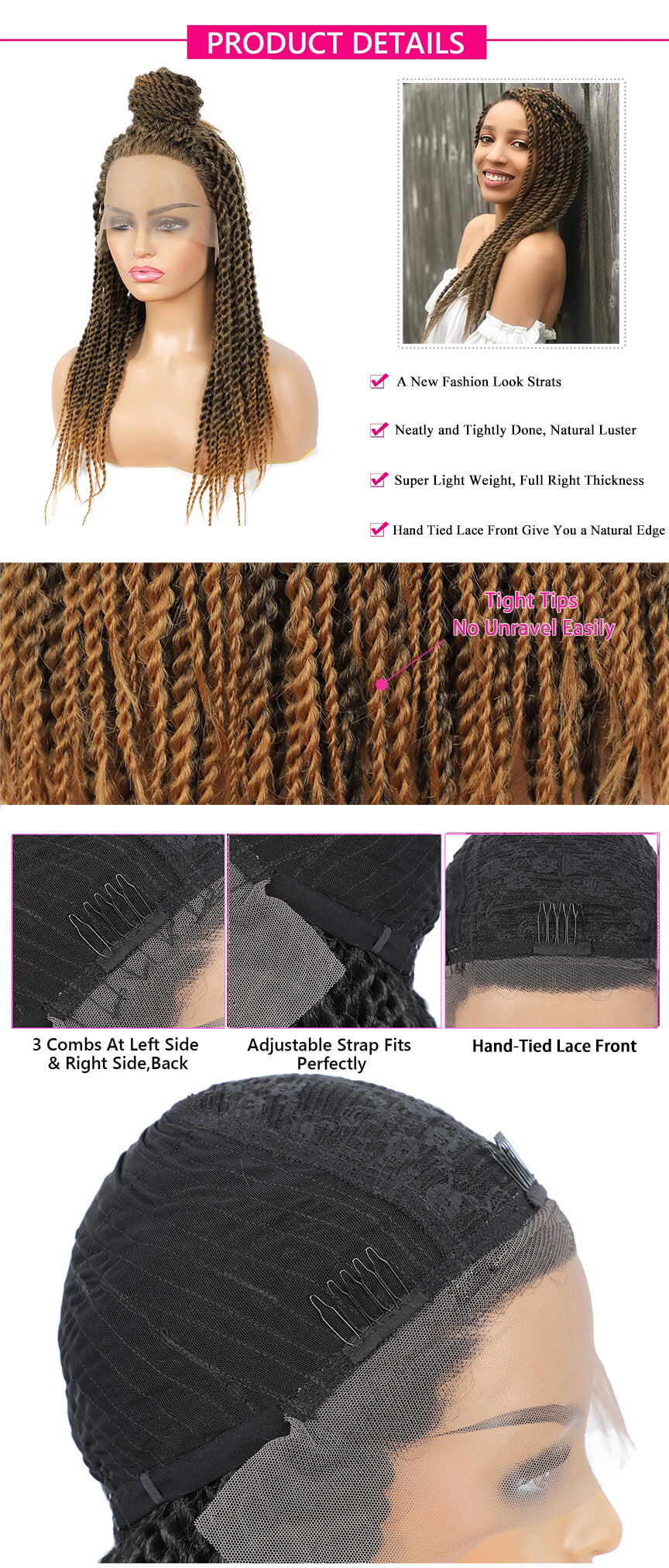 Rosebony Senegalese Twist Briaded #27 Lace Front Wigs Description
