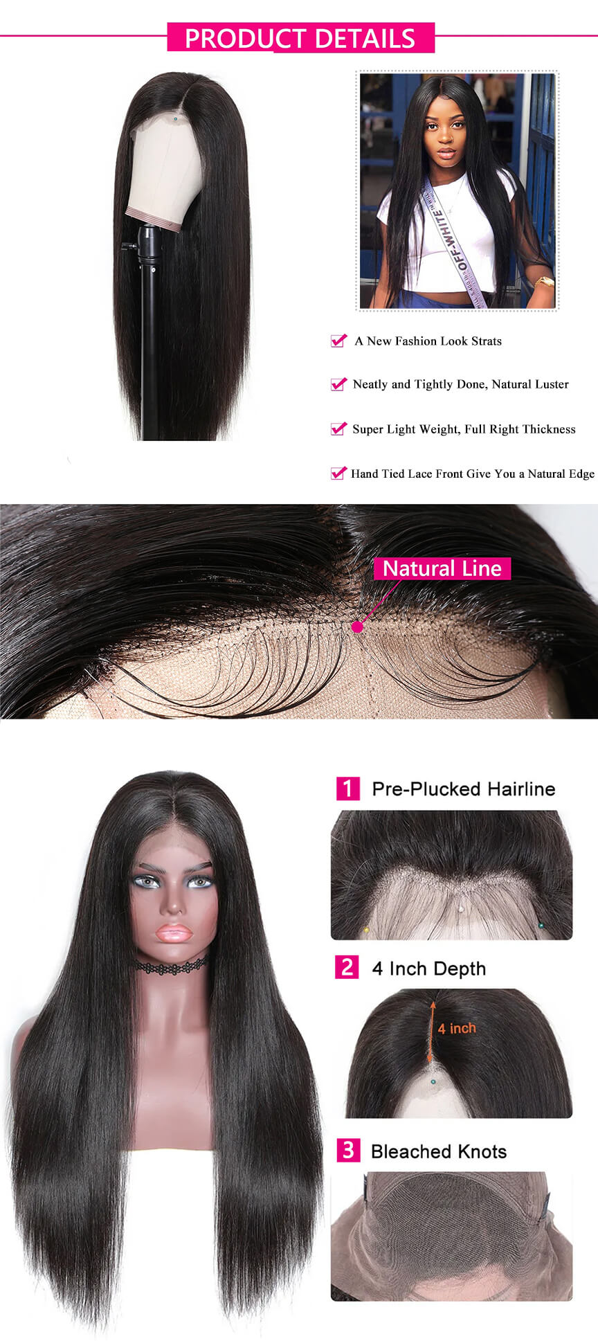 Rosebony Straight Hair Lace Front Wig Human Hair Detail Description