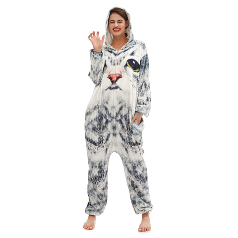 Cat Fleece Winter Onepiece Sleepwear
