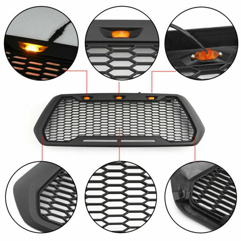 Raptor Style ABS Mesh Grille Fits 2016-2019 Tacoma With 3 Amber LED Lights Generic