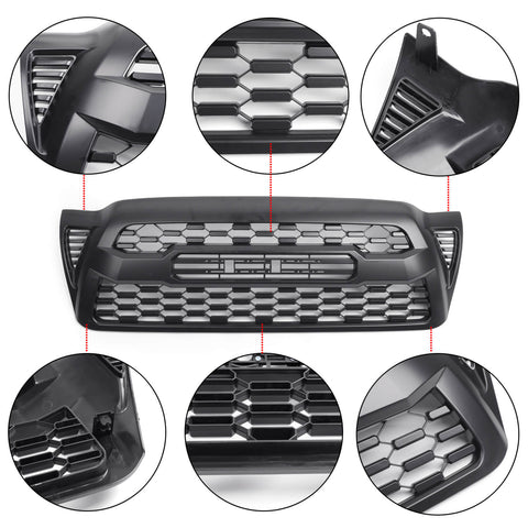 2005-2011 Toyota Tacoma Front Bumper Hood Grille Grill With TOYOTA letter Matte Black Generic