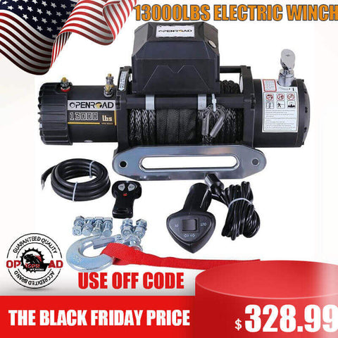 13000lbs Winch with Synthetic Rope, 12V Waterproof 4WD Electric Winch Recovery Kit | OPENROAD