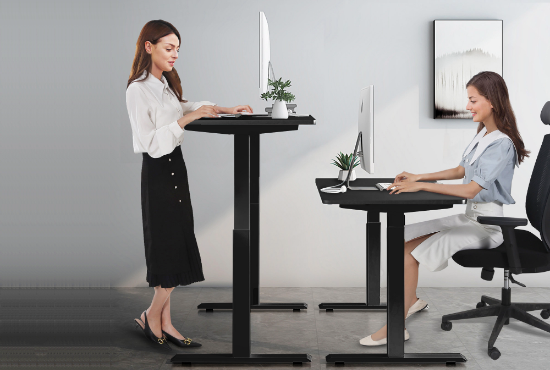 Sit stand shift working with electric standing desk
