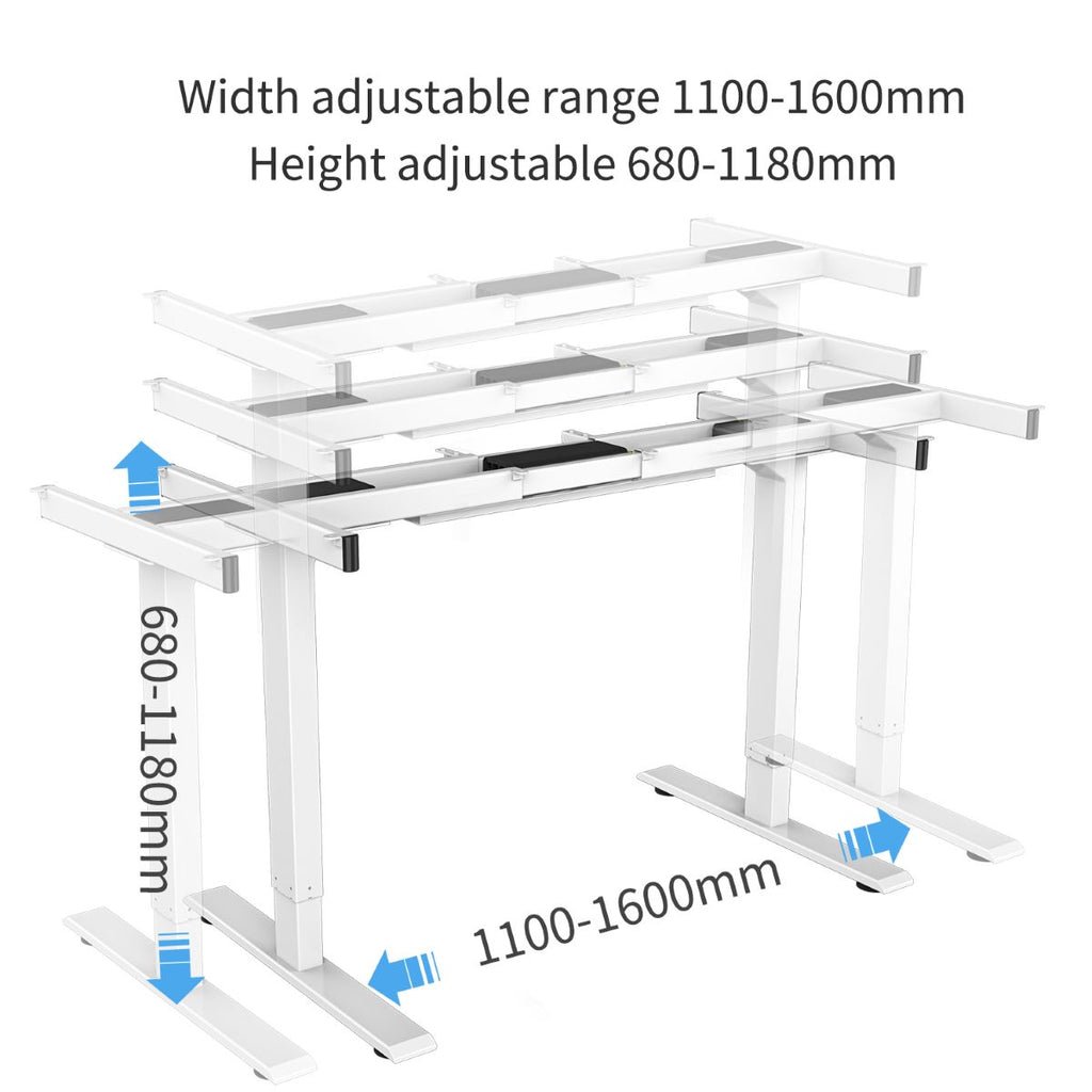 maidesite electric standing desk base height and extended range