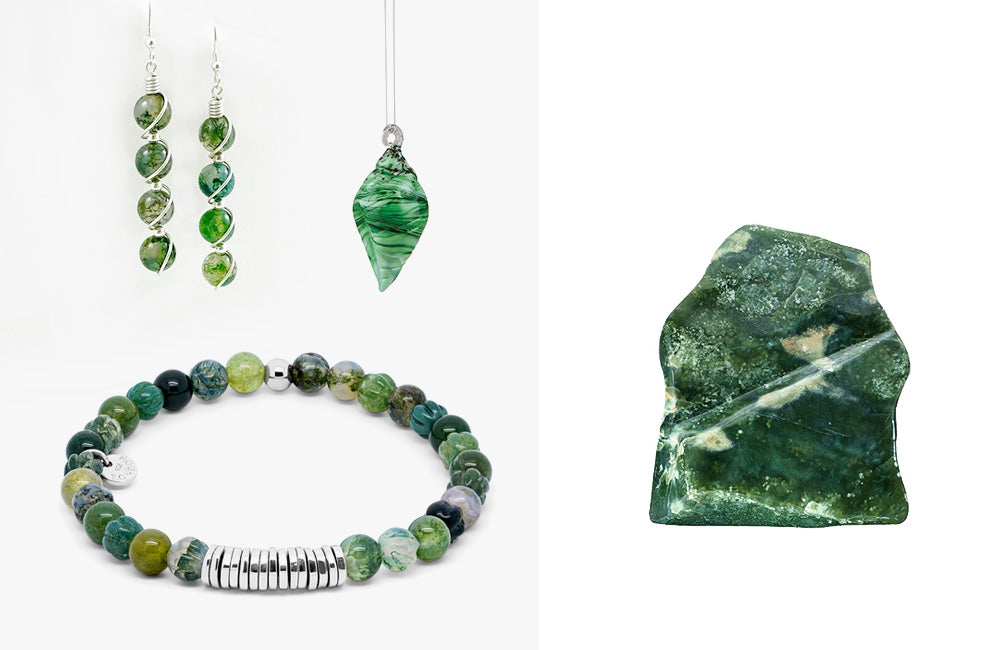 jewelry made of moss agate