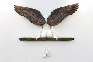 """""""Icarus Had a Sister"""" angel art sculpture wall decoration"""