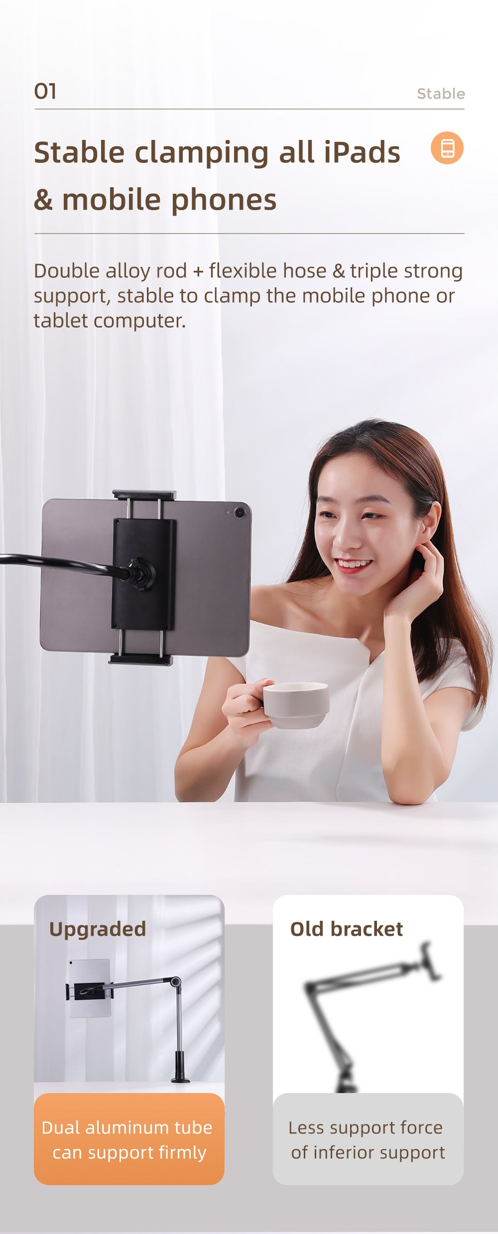 Universal Lazy Long Arm 360° Adjustable Clamp Bracket Stand for Bed/Sofa/Table 4