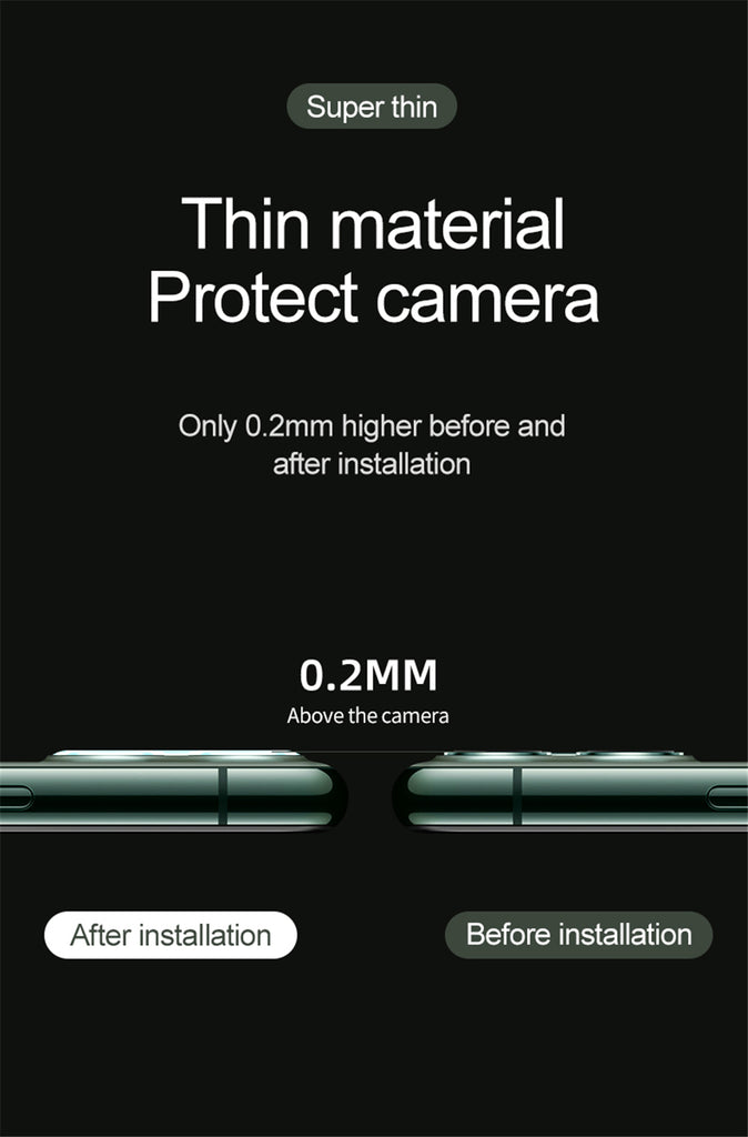 3D Lens Protective Glass Screen Protector For iPhone 11 Pro/ Pro Max Tempered Glass For iPhone 11 Camera Film Back Protector-2 Pack