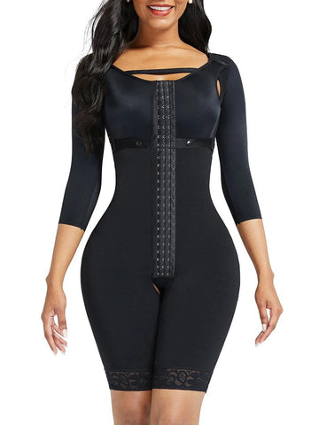 Lace Trim Hourglass Body Shaper With Sleeves Good Elastic