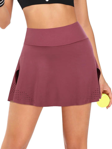 Outdoor Jujube Red High Waist Tennis Skirt With Pockets