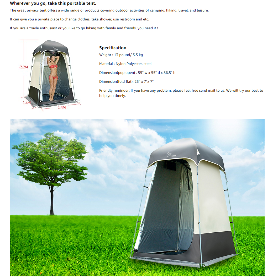 Outdoor Shower Tent Changing Room Privacy Portable Camping Shelters
