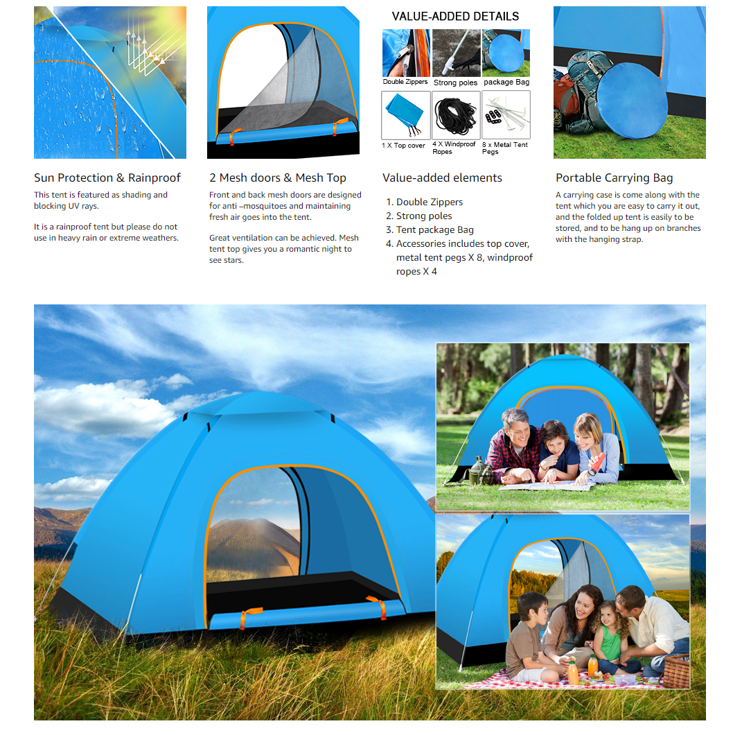 Instant Automatic pop up Camping Tent