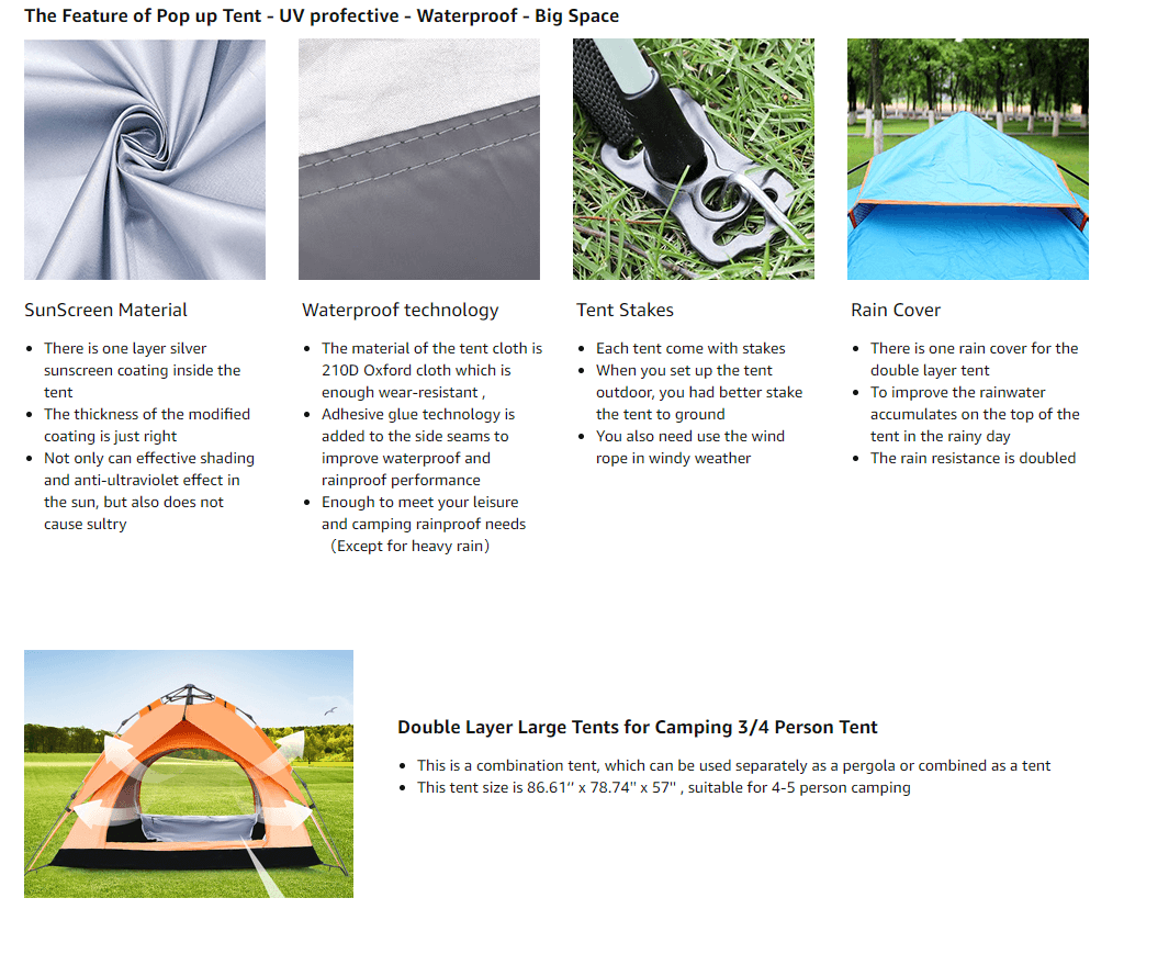 Pop Up Large Instant Family Tent