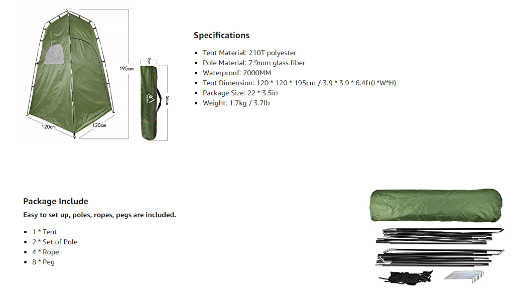 Quick Set Up Privacy Tent