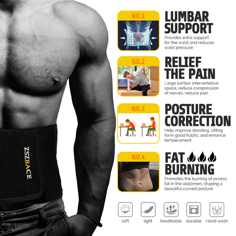 Adjustable Double Pull Fastener Lumbar Lower Back Support Brace Belt for Pain Relief